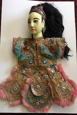 ANTIQUE Chinese/Oriental Theater Opera/ Hand Puppet Doll Removable Long Hair