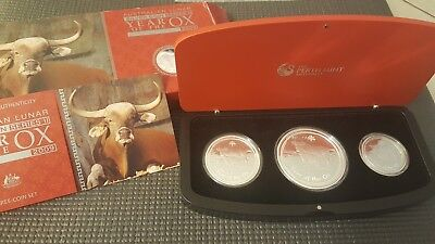 2009 australia lunar OX 3 coin silver proof set