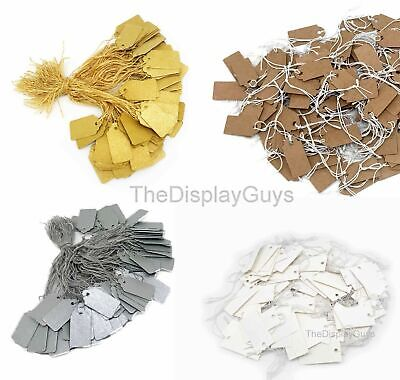 200PCS White/Kraft/Silver/Gold Paper Knotted Elastic String Marking Price Tag