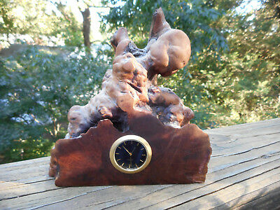 Cool Vintage Naturalistic Burl Desk Clock Signed Charles Ellison ( ? )