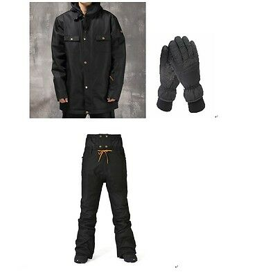 10K Men Ski Snow Snowboard Waterproof Black Jacket+Pants+Gloves S M L XL XXL