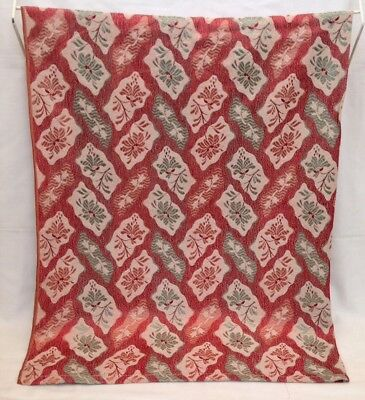 """Vintage Mid-century Red Flower Curtain Panel/material/fabric W 39"""" x L 58"""""""