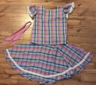 2 Piece Square Dance Outfit Ladies Women Girl Matching Necktie Size 8 Pink Blue