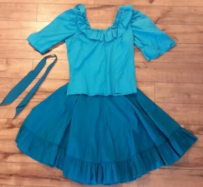 2 Piece Square Dance Outfit Ladies Women Matching Necktie Size Med 16 Turquoise