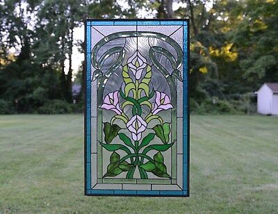 """21"""" x 35"""" Stained glass window panel Lily Flower Beveled Clear Glass"""