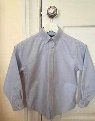 EUC Lands End Little Boys Sz 7 Blue Oxford Uniform Dress Shirt