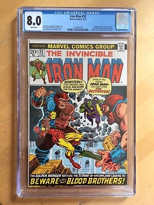 Marvel Iron Man #55 (Feb 1973) CGC 8.0 VF *WHITE PAGES* FIRST THANOS + DRAX!