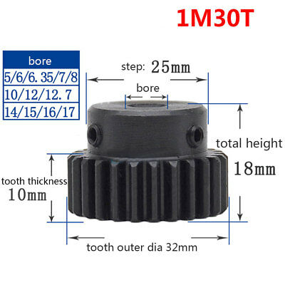 1 Mod 30T Metal Spur Pinion Gear 45# Steel Bore 5/6/6.35/8/10/12/12.7/15/17mm