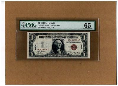 """1935A $1.00 SILVER CERTIFICATE """"HAWAII SC-BLOCK""""~PMG-65:GRADED and READY TO GO!!"""