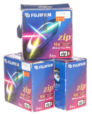 Fifteen (15) FUJIFILM Zip MAC Formatted 100MB Disks - Sealed - New Old Stock