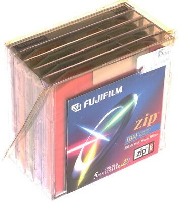 Five (5) COLOUR FUJIFILM Zip MAC Formatted 100MB Disks - Sealed - New Old Stock
