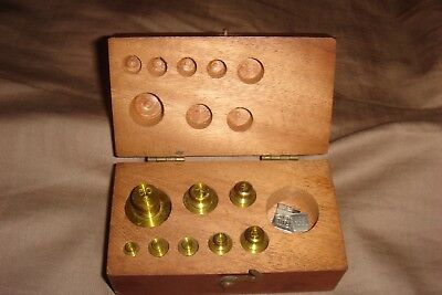 Antique  Brass Scale Weights Central Scientific Co Apothecary For Voland & Sons