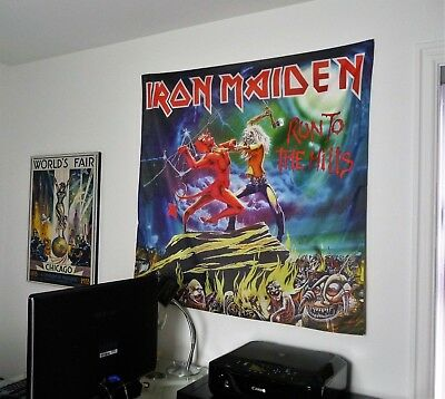 IRON MAIDEN Run to the Hills HUGE 4X4 BANNER poster tapestry album cover art