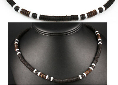 Black Brown White Natural Wood Bead Surf Necklace Mens Womens Beach Funky Boho