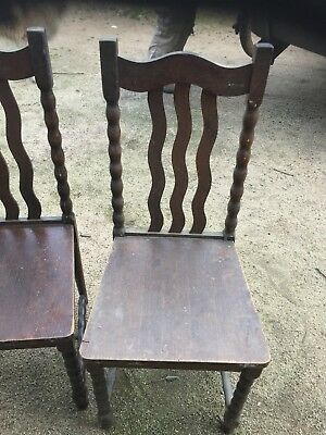 Six Old Antique ?? Restoration Job Wooden Chairs Vintage