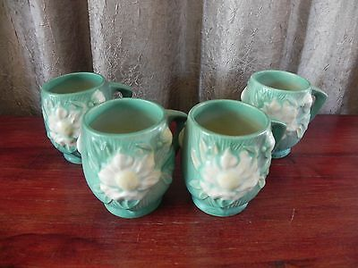 Antique Roseville Pottery Peony Green 4 Cups Mugs USA 3-3