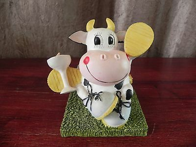 Resin Cartoon Cow With Drink Coin Bank