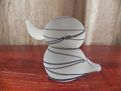 Satin Glass Black Stripe Baby Duck Figurine Paperweight