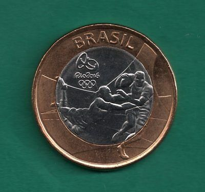 Brazil 1 Real 2015 Rugby (2016 Olympic Games Rio) 27mm Bimetal Coin