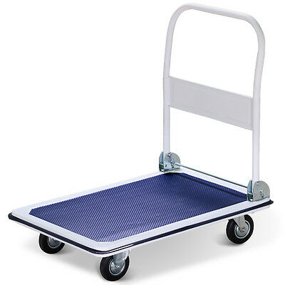 New 660lbs Folding Platform Cart Moveable Dolly Push Hand Truck Trolley Blue US