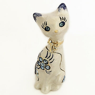 AKM Cat Figurine Trinket Box Silver with Blue Pave Set Crystals