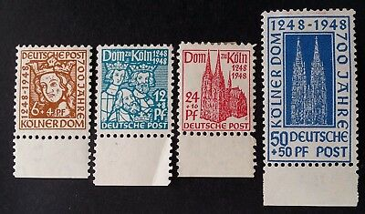 RARE 1948 Germany (British US Zone) set of 4 Anniv Cologne Cathedral stamps Mint