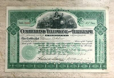 1903 Cumberland Telephone And Telegraph Company Stock Certificate Ky