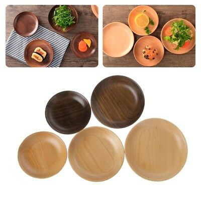 Wooden Round Plates Fruit Cake Tea Coffee Dessert Food Dish Serving Tray