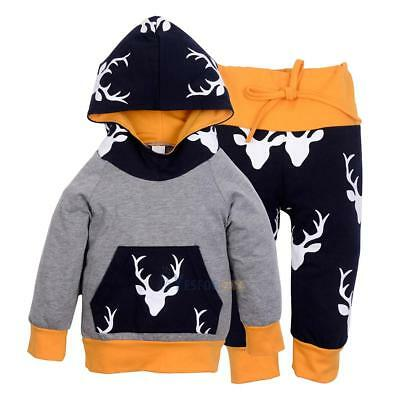 2PCS Kids Baby Toddler Boy Hoodie Clothes Set T-shirt Tops Pants Leggings Outfit