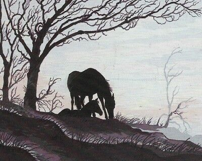 """Lone Stallion Silhouette"" HORSE TAPESTRY TO STITCH 60 X 50 CM RARE DESIGN!"