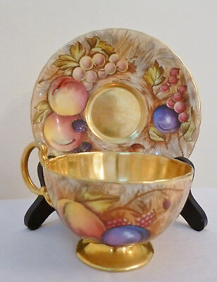 Aynsley Fruit with Gold, Tea Cup and Saucer, England, Bone China