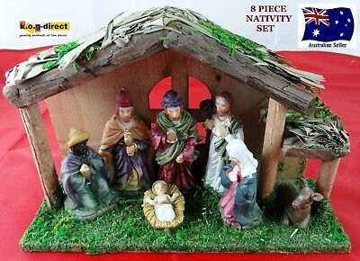 8 Piece Nativity Set Scene With 7 Figures And Wooden Creche Stable  New Wl-37