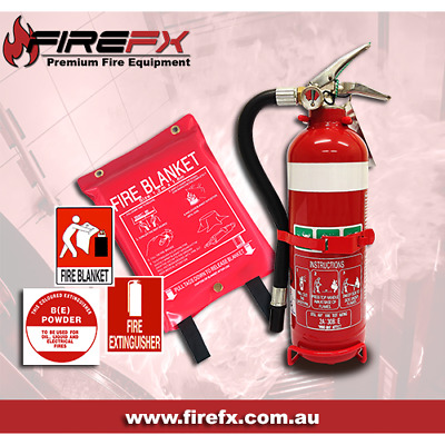 1.5KG ABE FIRE EXTINGUISHER & 1.2x1.2 FIRE BLANKET COMBO WITH 2X ID SIGNS