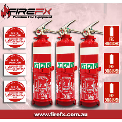 3X 1Kg Abe Fire Extinguisher & Id Sign