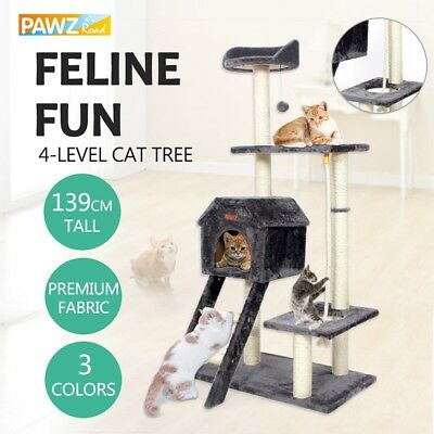 139CM Cat Tree Scratcher Post Toy 4-Level Ladder Condo Tower Furniture Gym House