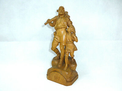 Wilhelm Tell Unusual Fine Carved Wooden Figure Um 1900 Figure Berchtesgaden
