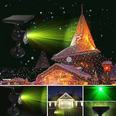Solar Power LED Laser Projector Light Flash Outdoor Garden Waterproof Xmas Decor