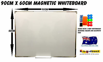 90x60cm MAGNETIC WHITEBOARD & 2 FREE MARKERS ERASER & MAGNETIC PINS 900x600mm