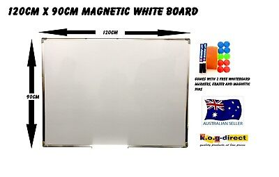 120x90cm MAGNETIC WHITEBOARD & 2 FREE MARKERS ERASER & MAGNETIC PINS 1200x900mm