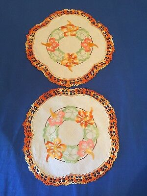 2 Vintage Flowery Design Pretty Embroidered Doilies / Doily