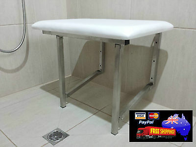 Shower Chair Seat Folding Disabled Aid Stainless Steel Padded Seat Compact