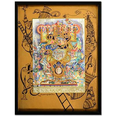 Raphael Abecassis Signed Limited 3D Decoupage Painting Coa Judaica