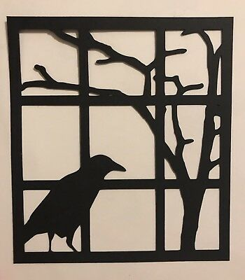 Halloween Crow Window Silhouette die cut paper pieceing handmade Die Cut