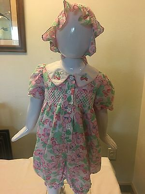 Vintage Baby Girl's Flowere Tiny Tots Coverall Jumper 6-9 months pink green red