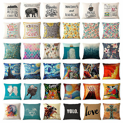 Art Animal Decorative Cotton Linen Throw Pillow Case Cushion Cover Sofa Car 18""