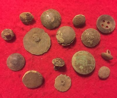 15 Old Antique Medieval - 1600's Metal Detector Found Button Lot Artifact Europe