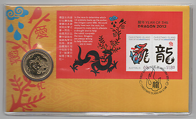 2012 (1) PNC: CHINESE YEAR OF THE DRAGON W/ 30.6mm $1 GEM BU COIN