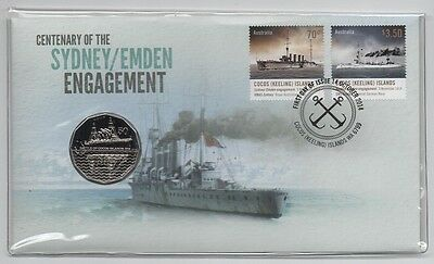 2014 (12) Pnc: Centenary Of The Sydney - Emden Engagement With 50 Cent Unc Coin