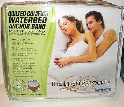 Quilted Waterbed Anchor Band Mattress Pad Super Single, Queen, CA King PRIORITY