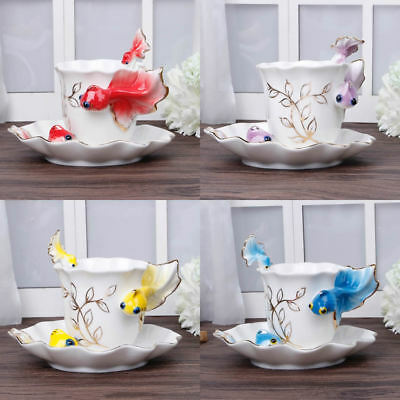 China Porcelain Gold Fish Coffee Set Tea Cup With  Spoon Saucer Creative Mug